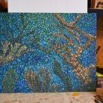 Море внутри. Картина, художник Мария Текун, картина для интерьера, продажа картин, авторская живопись, необычные картины, картина мозаика, картина-мозаика, холст, темпера фото 11