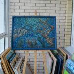 Море внутри. Картина, художник Мария Текун, картина для интерьера, продажа картин, авторская живопись, необычные картины, картина мозаика, картина-мозаика, холст, темпера фото 2