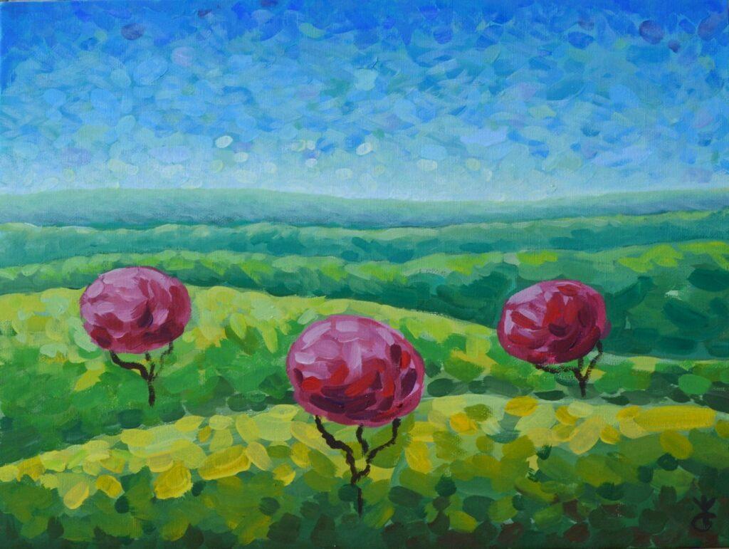 Весна в полях картина, художник Мария Текун авторская живопись картины для интерьера продажа картин maryatekun.ru