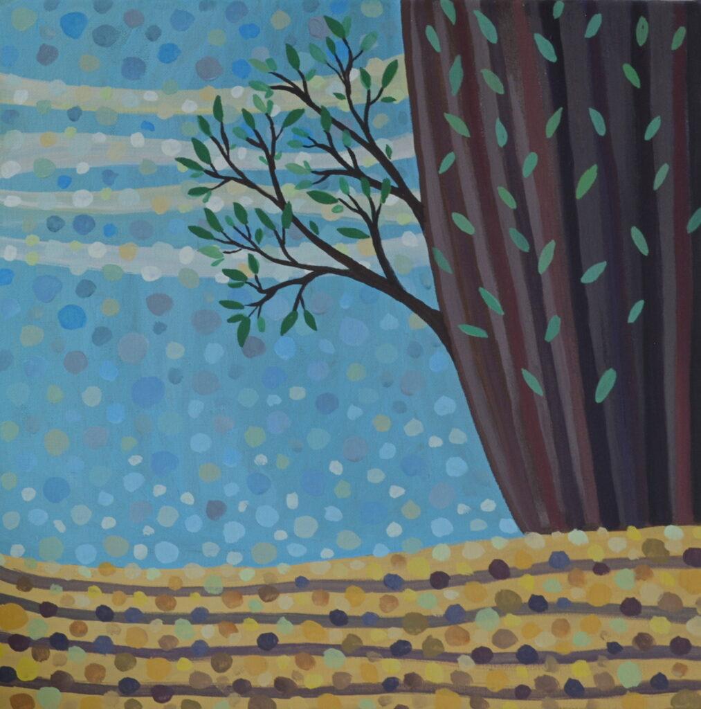 Музыка леса картина, холст на подрамнике, темпера, 40х40 см картина темперой на холсте, картина художника, живопись темперой, уникальная необычная картина художник Мария Текун maryatekun.ru