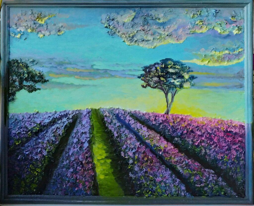 Поля лаванды на закате картина в смешанной технике, художник Мария Текун maryatekun.ru