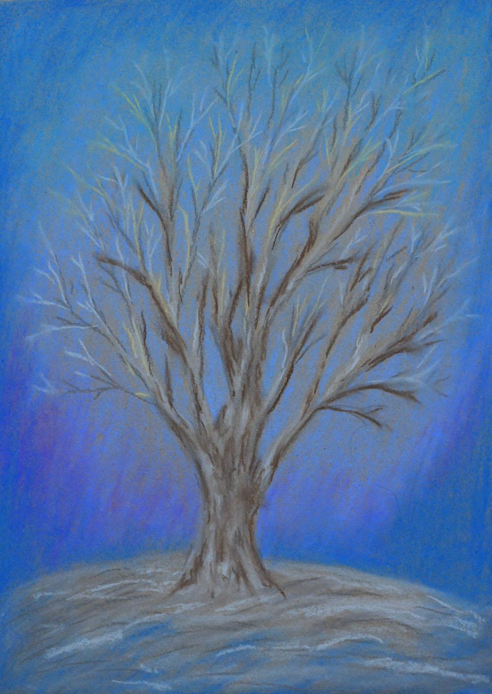 картина Синее дерево. Картон, сухая пастель, 30х40 см