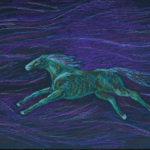 Зеленая лошадь. Картина, картон, масляная пастель, 30х40 см, - Художник Мария Текун