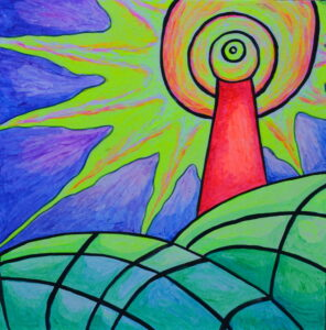На маяк. Картина, картон, флуоресцентные краски, 30х30 см - Художник Мария Текун
