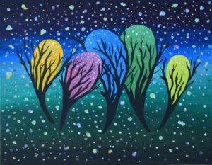 Звездная пыль картина темперными красками на холсте