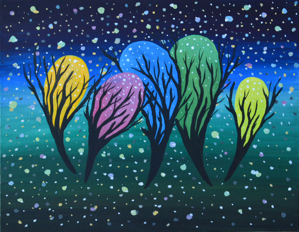 Звездная пыль картина темперными красками на холсте необычная картина художник Мария Текун maryatekun.ru