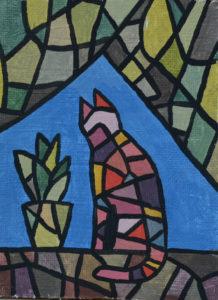 картина Хмурый день. Картина-фреска, оргалит, штукатурка, темпера, 10х15 см