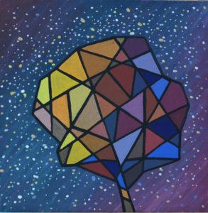 картина Осенний звездопад. Холст на картоне, темпера, 40х40 см
