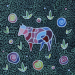 Фрактальная корова. Картина, холст на картоне, темпера, 40х40 см, 2017 г. - Художник Мария Текун