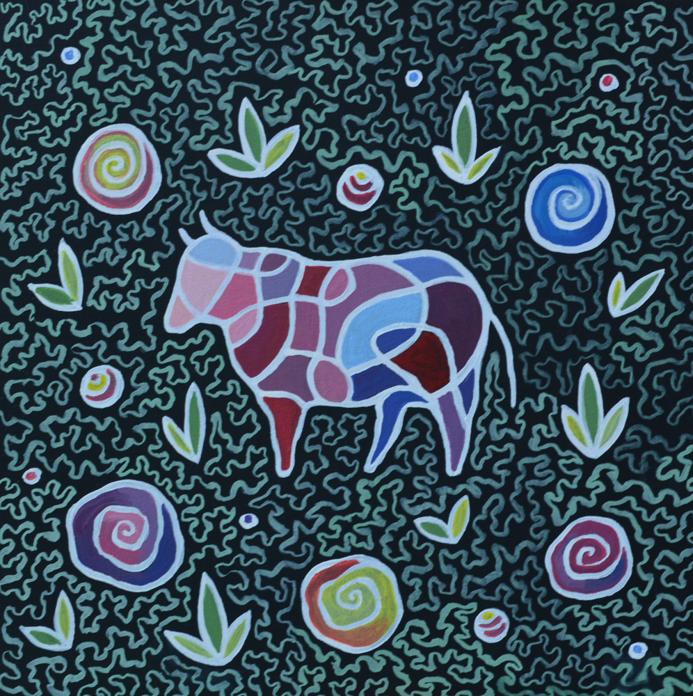 Фрактальная корова картина Холст на картоне, темпера, 40х40 см уникальная необычная картина художник Мария Текун maryatekun.ru