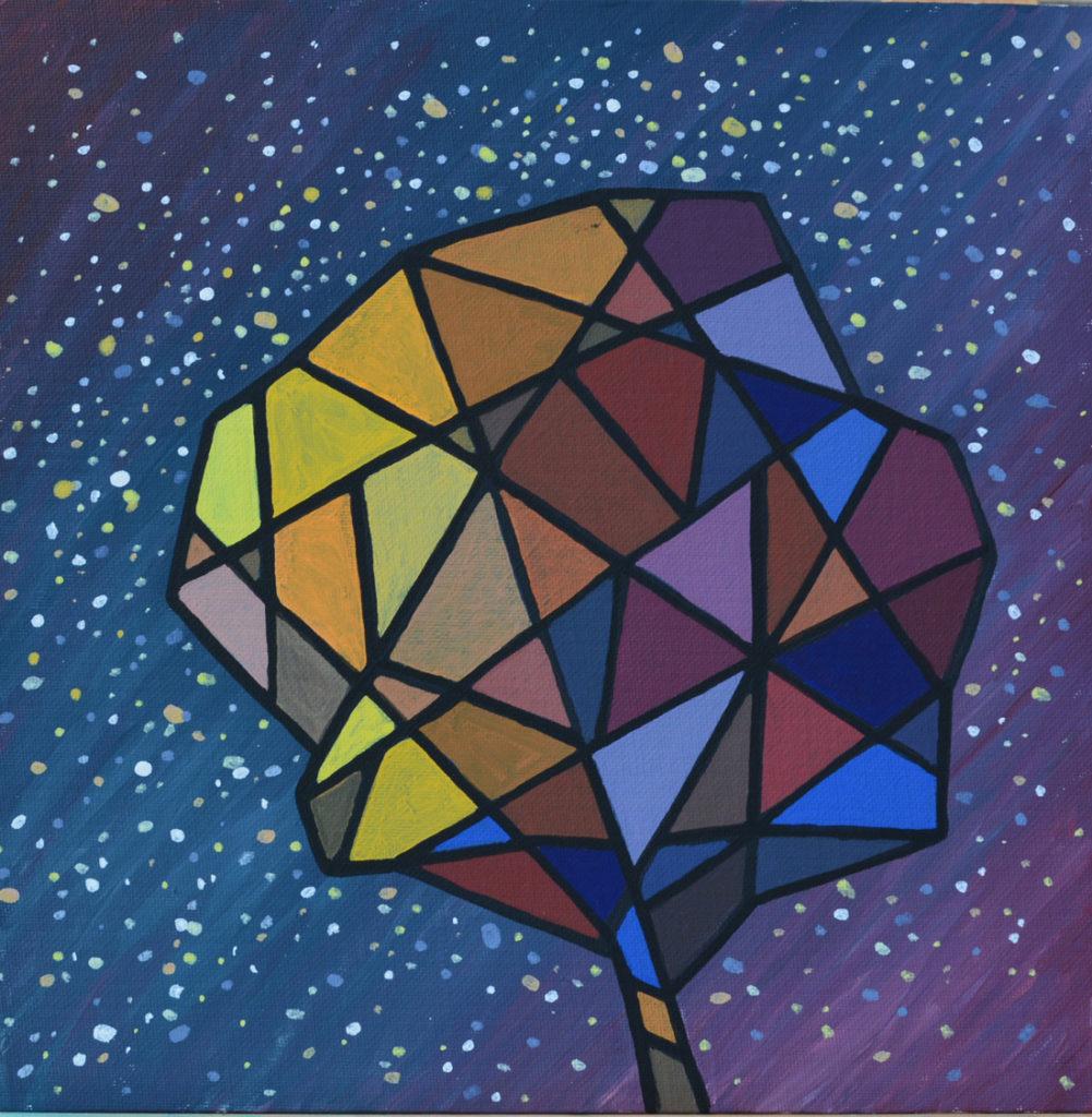 Осенний звездопад картина, холст на картоне, темпера, 40х40 см картина художника, живопись темперой, уникальная необычная картина художник Мария Текун maryatekun.ru