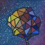 Осенний звездопад. Холст на картоне, темпера, 40х40 см, 2017 г. - Художник Мария Текун