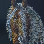 Портрет лошади. Картина, холст, темпера, 50х90 см, багет, 2018 г. - Художник Мария Текун