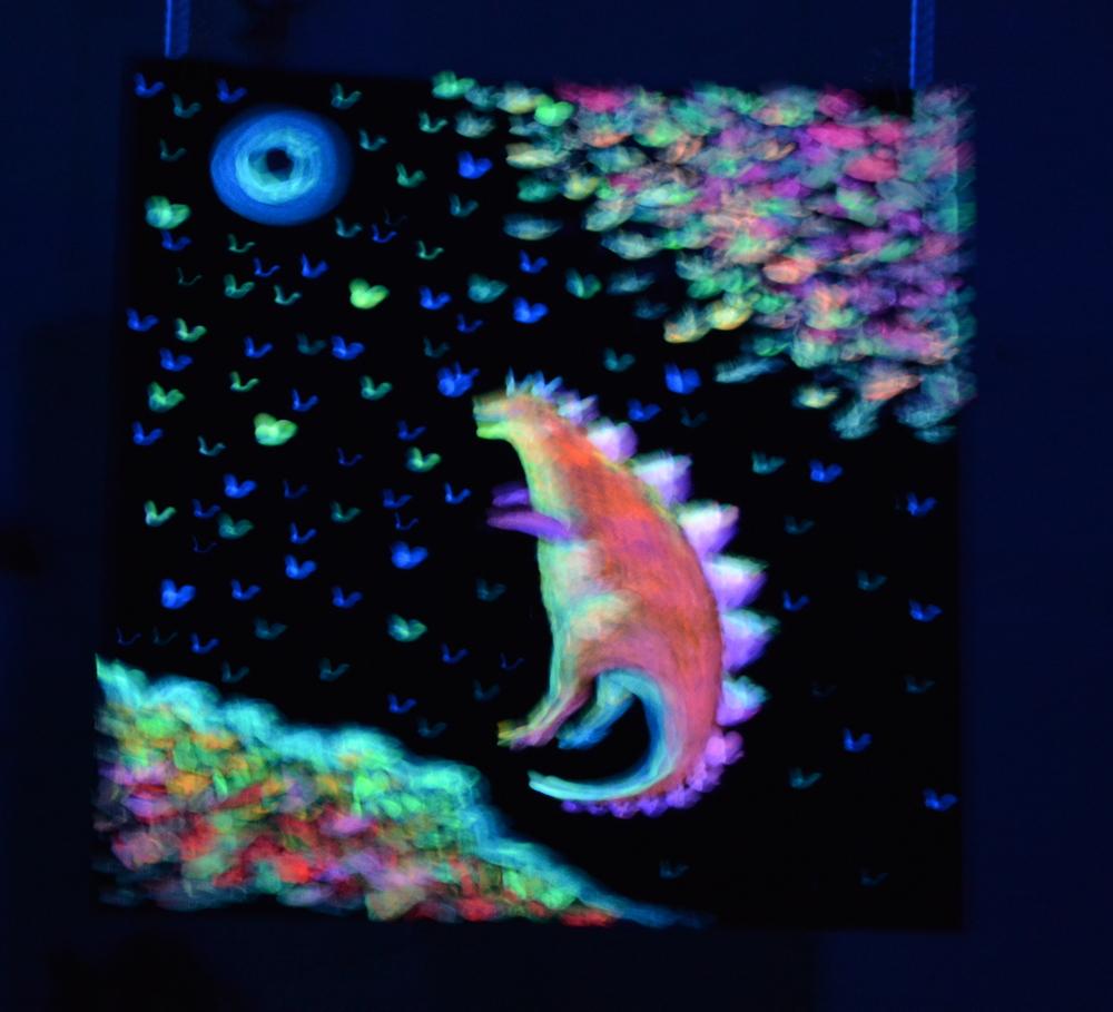 Под осенней звездой, светящаяся картина флуоресцентными красками maryatekun.ru