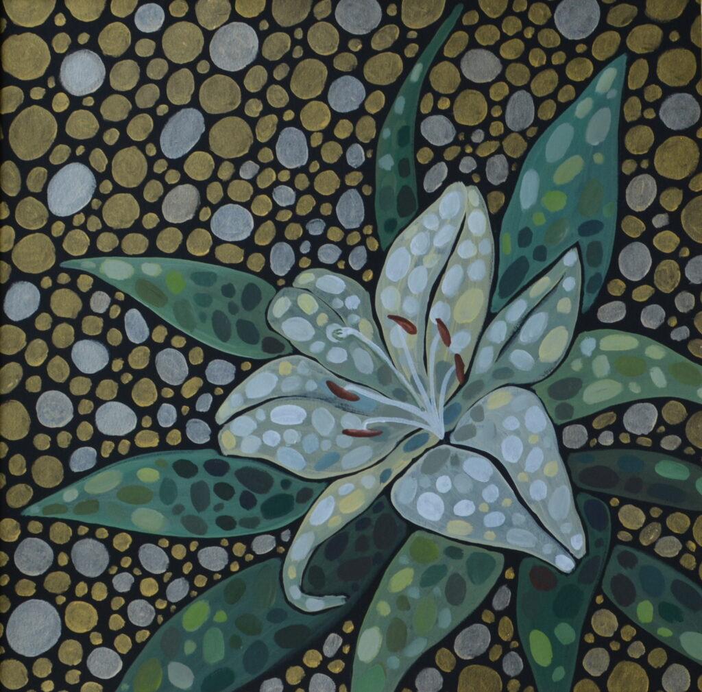 Белая лилия картина, авторская живопись, оригинал, холст, темпера, художник Мария Текун maryatekun.ru