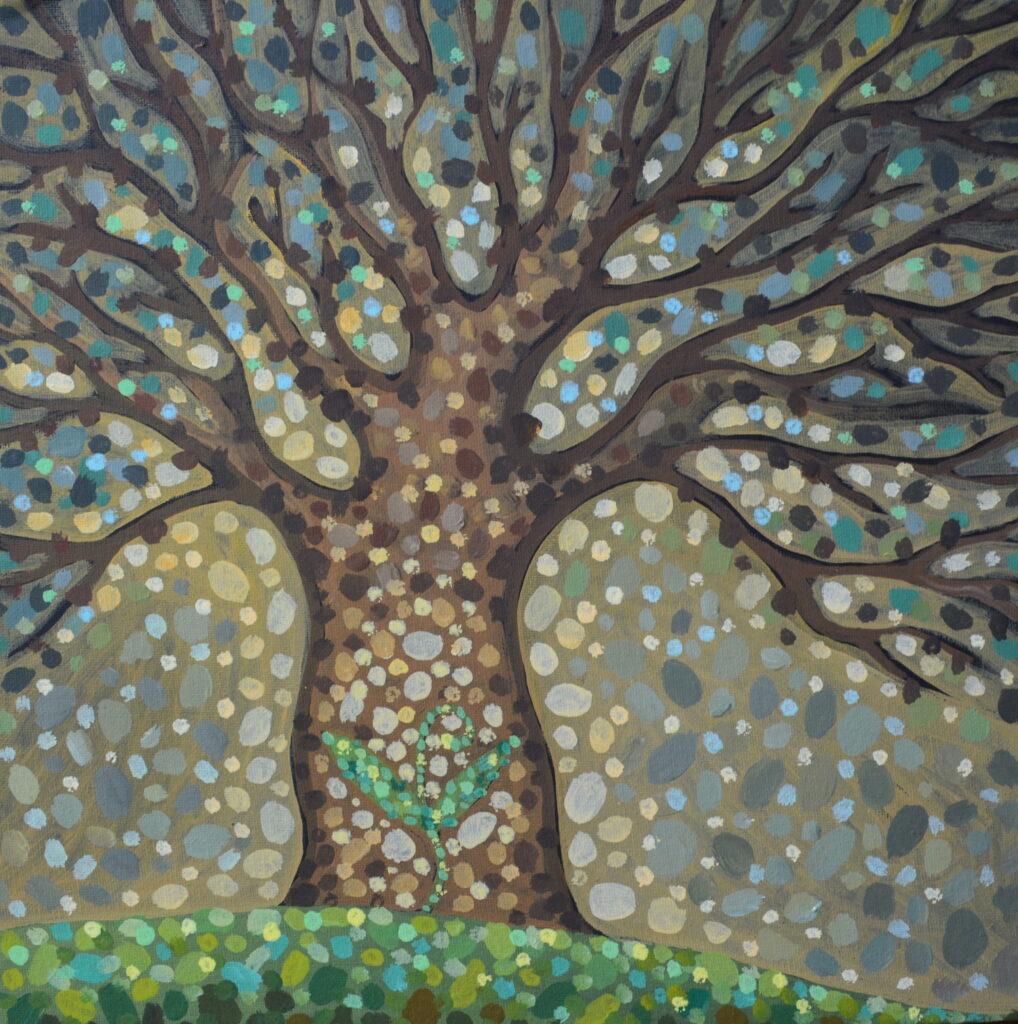 Рождение жизни картина, авторская живопись, оригинал, холст, темпера, художник Мария Текун maryatekun.ru