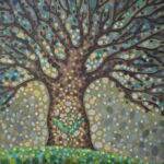 Рождение жизни. Картина, холст на картоне, темпера, 35х35 см, 2019 г. - Художник Мария Текун