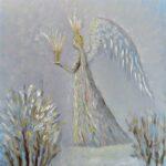 Зимний ангел. Картина, холст, масло, 30х30 см, 2021 г. - Художник Мария Текун