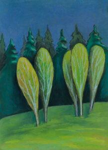 Березы на солнце перед дождем. Картон, гуашь, пастель, 30х40 см, художник Мария Текун, maryatekun.ru