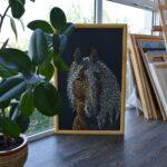 Портрет лошади картина темперой на холсте, картина художника, живопись темперой, уникальная необычная картина художник Мария Текун maryatekun.ru фото 3