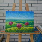 Утро в полях картина темперой на холсте картина художника, живопись темперой, уникальная необычная картина художник Мария Текун maryatekun.ru фото 4