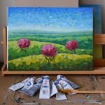Утро в полях картина темперой на холсте картина художника, живопись темперой, уникальная необычная картина художник Мария Текун maryatekun.ru фото 1