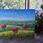 Утро в полях картина темперой на холсте картина художника, живопись темперой, уникальная необычная картина художник Мария Текун maryatekun.ru фото 5