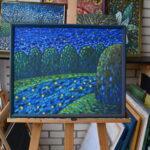 Звезды в реке 2 картина темперой на холсте, картина художника, живопись темперой, уникальная необычная картина художник Мария Текун maryatekun.ru фото 3