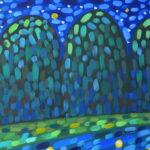 Звезды в реке 2 картина темперой на холсте, картина художника, живопись темперой, уникальная необычная картина художник Мария Текун maryatekun.ru фото 2