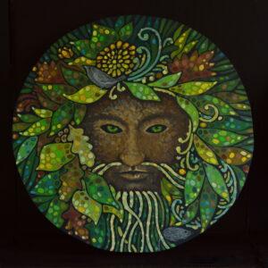 Дух леса. Картина, худ.панель, темпера, диаметр 57 см, 2020 г. - Художник Мария Текун