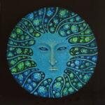 Дух озер. Картина, худ.панель, темпера, диаметр 57 см, 2020 г. - Художник Мария Текун