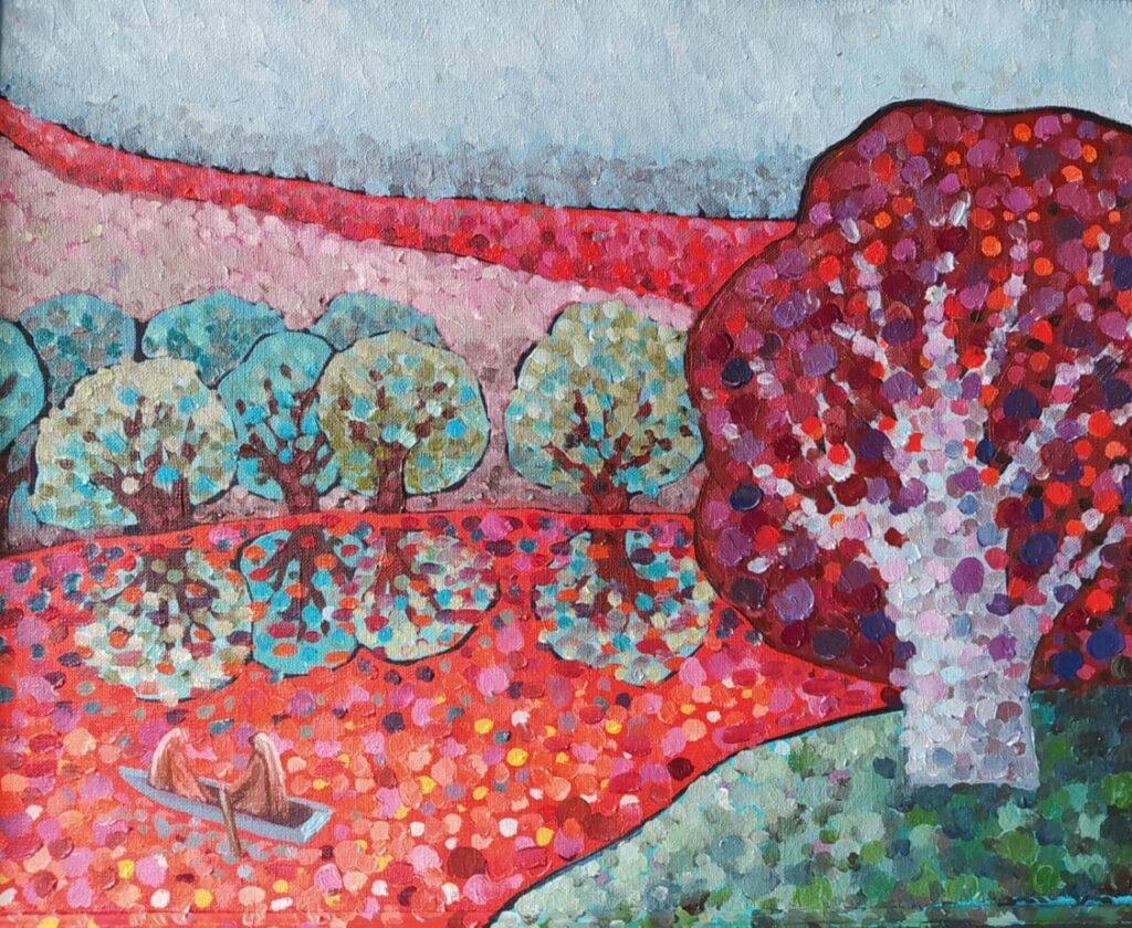 Красная река. Картина, холст, масло, деревянный багет, 40х50 см, 2021 г.. - Художник Мария Текун