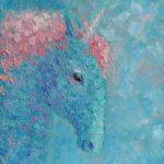 Небесный единорог. Картина, холст на подрамнике, масло, 30х30 см, 2021 г. - Художник Мария Текун