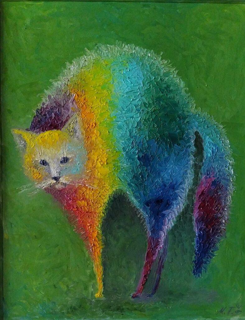 Радужный кот в зеленом. Картина, холст, масло, 50х40 см, деревянный багет, 2020 г. - Художник Мария Текун