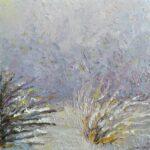 Розовый день, зимние цветы. Картина, холст, масло, 30х30 см, 2021 г. - Художник Мария Текун