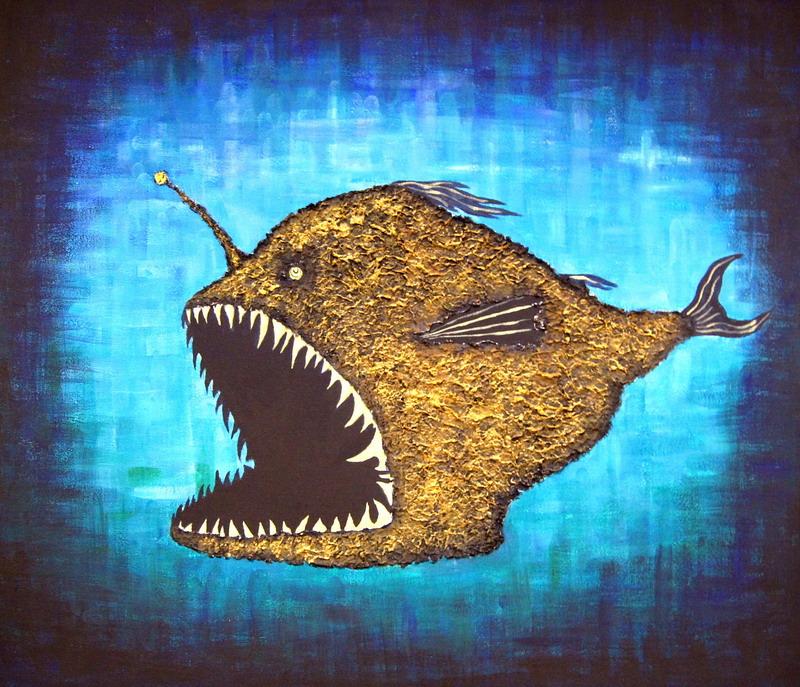 Рыба-черт. Картина, холст, акрил, смешанная техника, 60х80 см - Художник Мария Текун