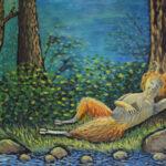 Послеполуденный сон фавна. Картина, холст, темпера, 50х70 см, золотая рама, 2015 год - Художник Мария Текун