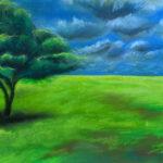 Тучи летят. Картина, бумага, гуашь, сухая пастель, 30х40 см - Художник Мария Текун
