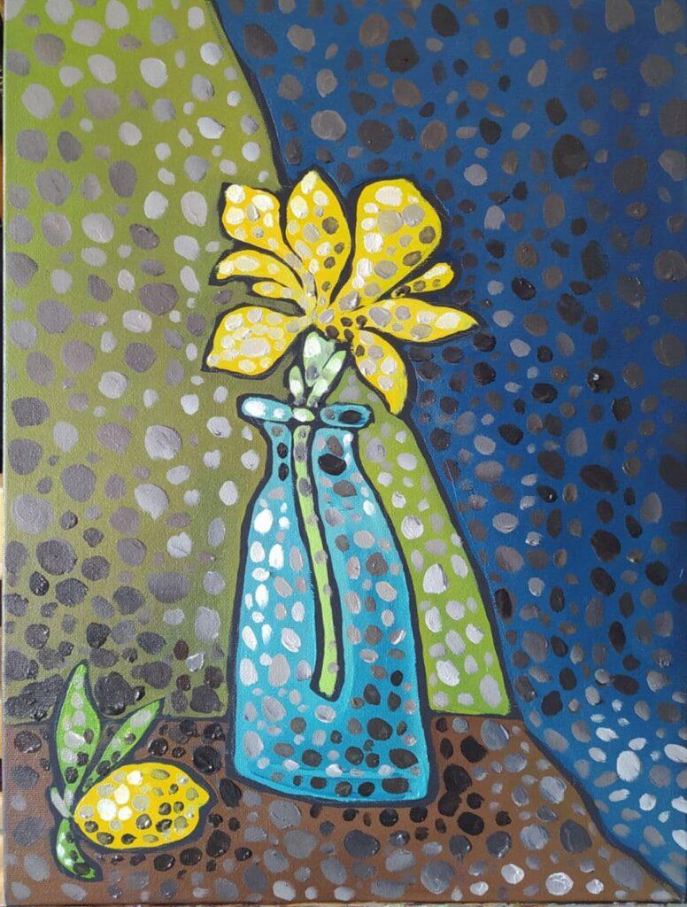 Желтый цветок. Картина, холст, масло, 40х30 см, 2021 г. - Художник Мария Текун