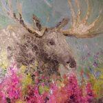 В лесу: лось и иван-чай. Картина, холст, масло, диаметр 35 см, 2020 г. - Художник Мария Текун
