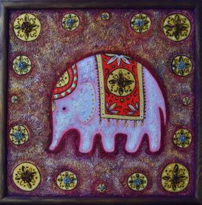 Розовый слоник. Картина, холст, смешанная техника, 50х50 см, багет - Художник Мария Текун