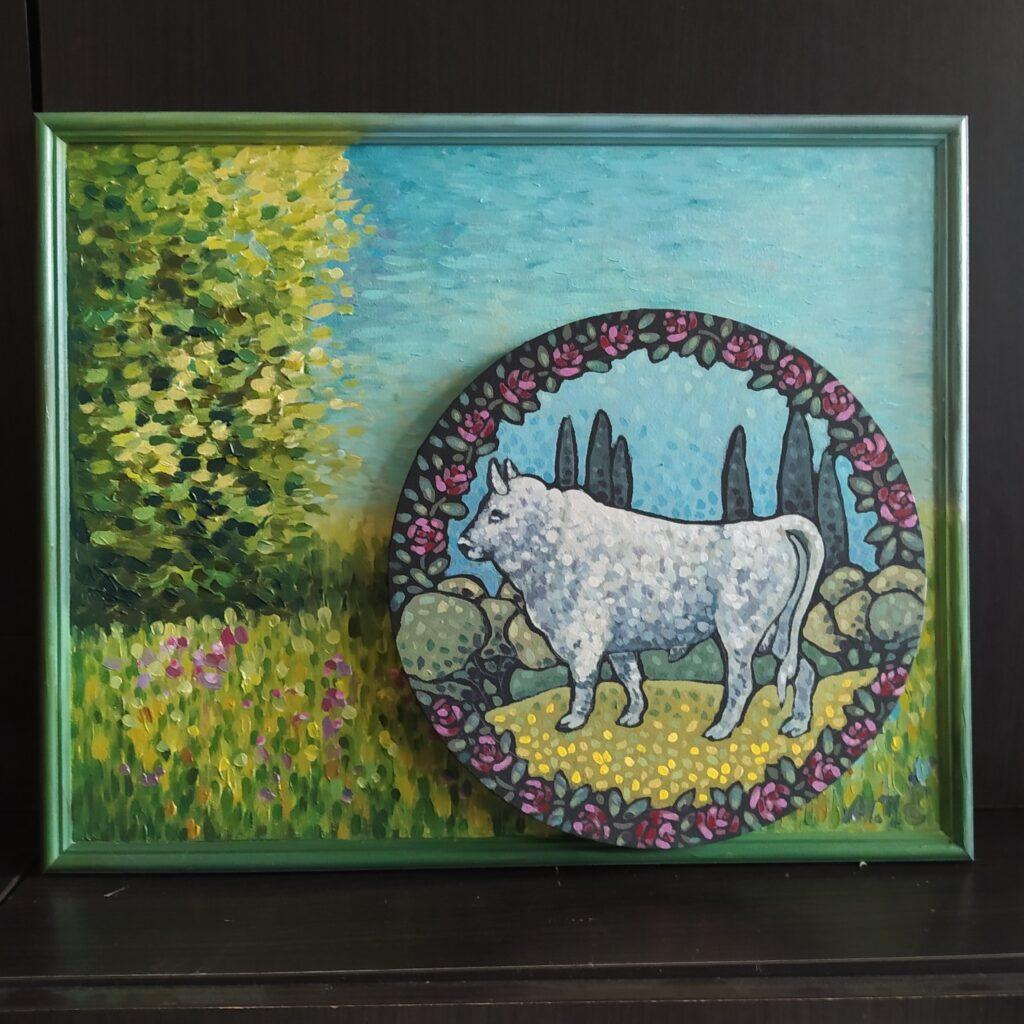 Жемчужный серебряный бык Репп в саду