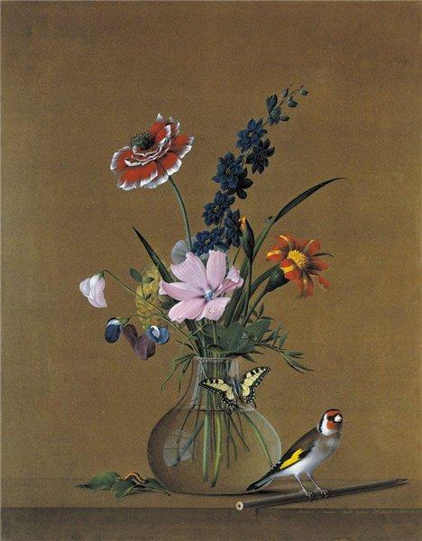 Художник Федор Толстой. Букет цветов бабочка и птичка натюрморт