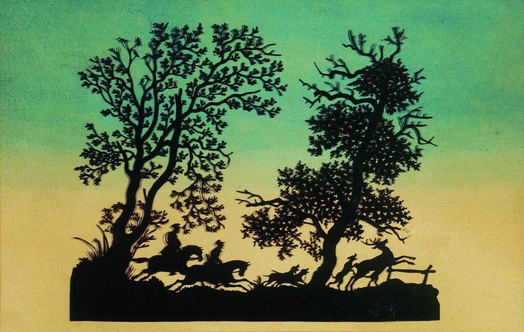 Художник Федор Толстой охота на оленя силуэт искусство силуэта рисунок