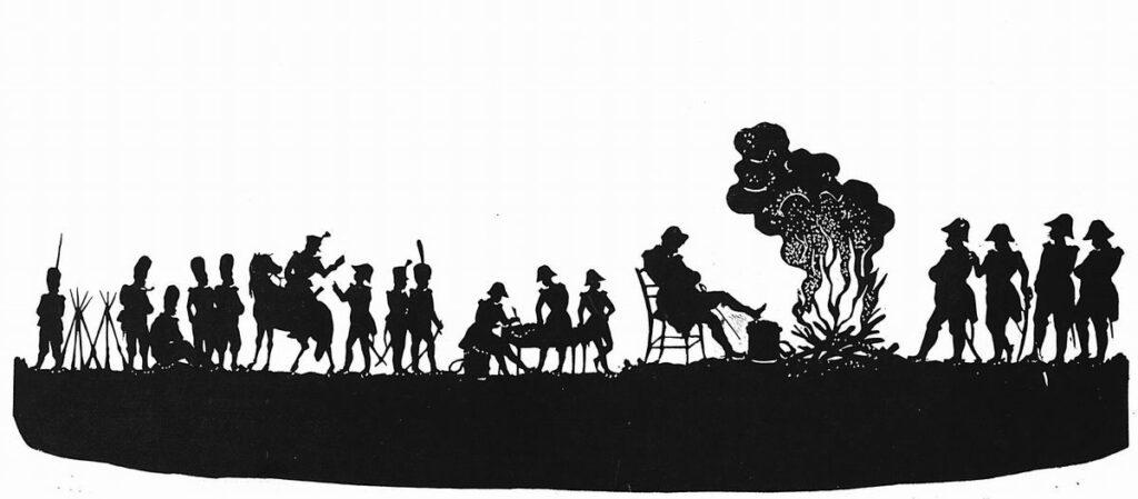 Художник Федор Толстой. Наполеон у костра силуэт 19 века искусство силуэта